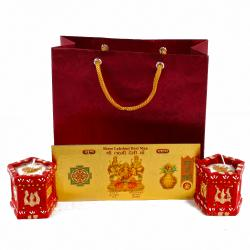 Tulsi Pot shaped Earthen Diyas with Gold Plated Lakshmi Note in a Gift Bag