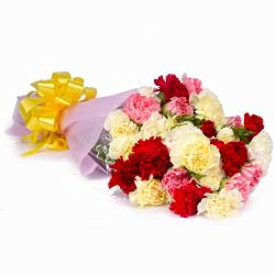 Twenty Two Colorful Carnations Bouquet Tissue Wrapped