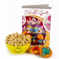Two Diwali Clay Diya and Cashew Smiley Bowl with Diwali Greeting Card